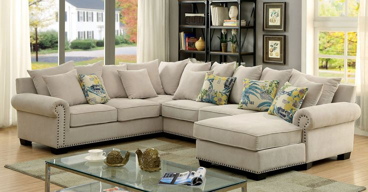 Skyler Sectional Sofa - CM6156 Description : Enjoy the cozy feel of this lavish sectional with its warm and inviting design. The padded chenille fabric brightens any room with its ivory coloring and c