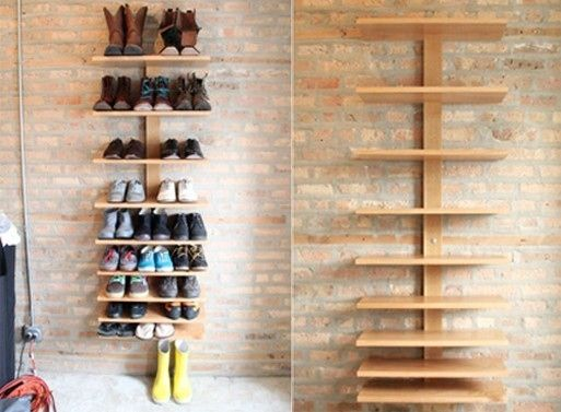 Design Ideas, Unusual Shoe Storage Ideas Utilizing Wooden Rack That Mounted On Brick Wall: Contemporary and Innovative Shoes Storage Ideas