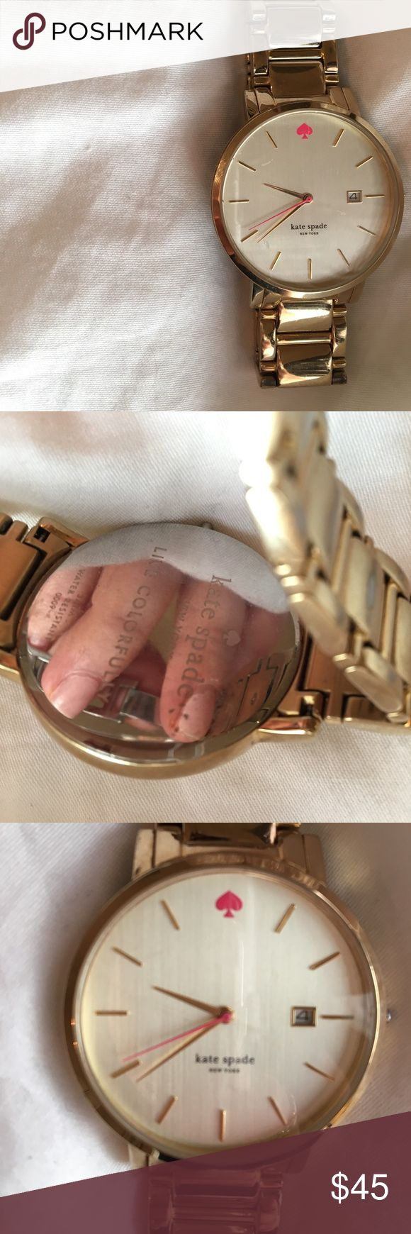 Kate Spade Gold Watch Kate Spade Gold watch from the live colorfully collection. The face has 3 scratches on it and the watch needs a new battery. There is some wear on the band also. Still looks beautiful though. If you have any questions let me know! kate spade Jewelry Bracelets