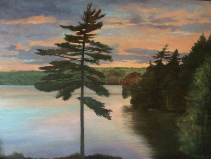 "'Evening Lake, Nova Scotia' oil on panel, 2016.  48"" x 35"".  Painted on location in Annis Lake, Nova Scotia, August 2016. #Canada #novascotia #pleinair #oilpaintings #art"