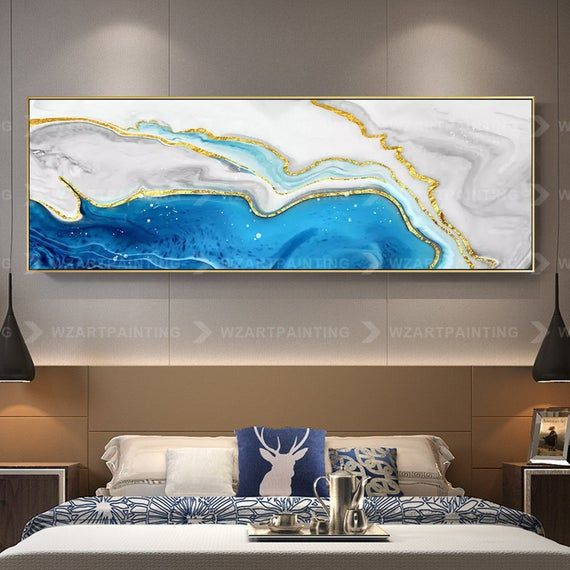 Gold Blue Sea Abstract Print Acrylic Print On Canvas Art Ready To Hang Framed Painting Wall Art Pictures Home Gold Wall Art Wall Art Pictures Wall Art Painting