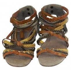 Topshop leather gladiator sandals tan & yellow plaited straps with chains