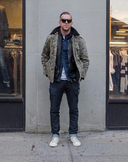 Camo jacket, leather jacket & denim shirt layers - Ben Ferrari's GQ Street Style Photos #swag