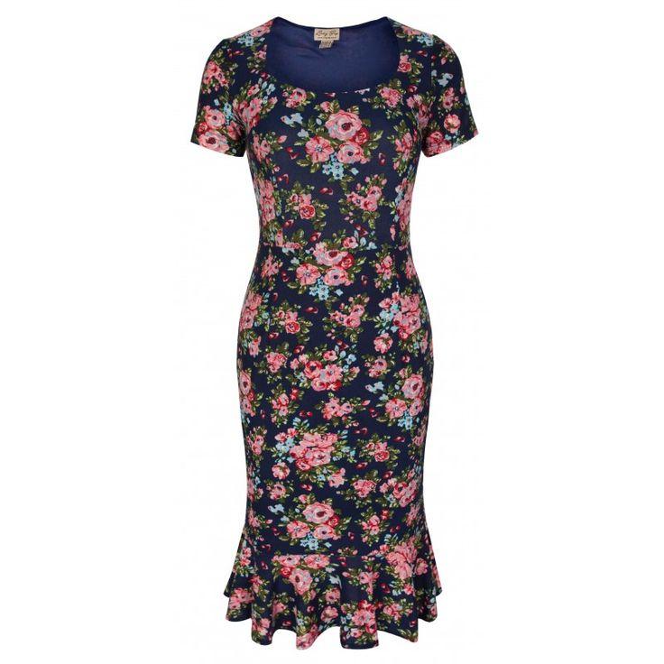 Retro šaty Lindy Bop Arabella Navy Blossom Šaty ve stylu 50. let. Krásné šaty vhodné pro letní dny, na svatby, zahradní párty, na dovolenou či běžné nošení, všude tam je užijete. Velmi příjemný a lehký materiál (95% polyester, 5% elastan), který skvěle padne Vaší postavě a budete se v nich cítit dokonale žensky. Tmavě modrý podklad s drobnými květy, krátký rukávek, krytý zip v bočním švu, podšívka, spodní lem mírně nabraný pro snadnější pohyb