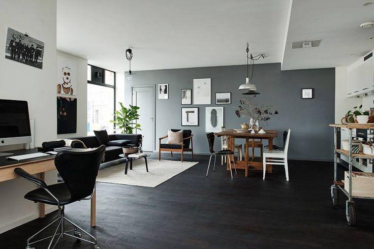 Living room with black floor, Deco.Fr. http://www.kenisahome.com/blog