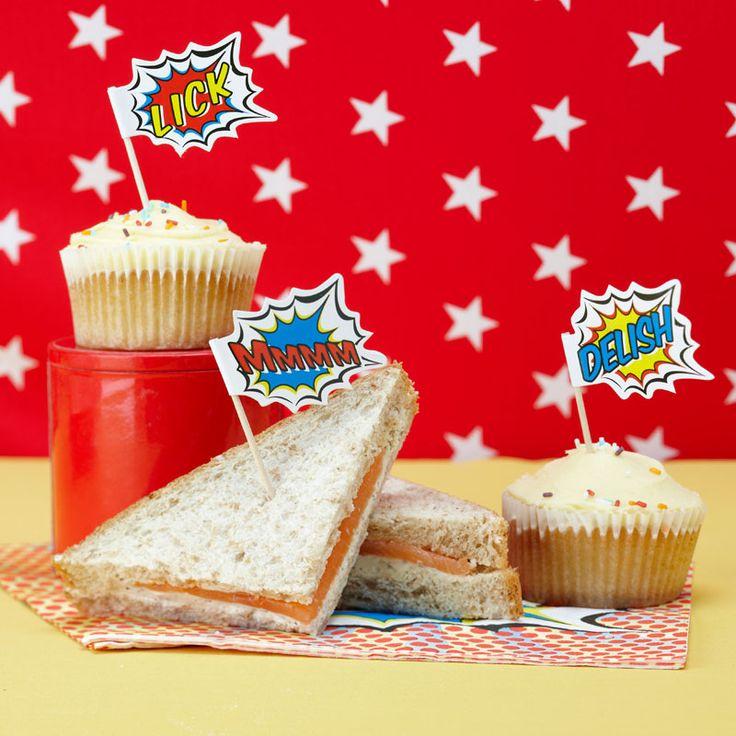 : CUPCAKE STICKS/FOOD FLAGS   POP ART PARTY #hatchandblossom