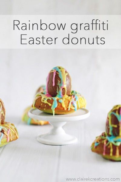 Rainbow grafiti Easter donuts