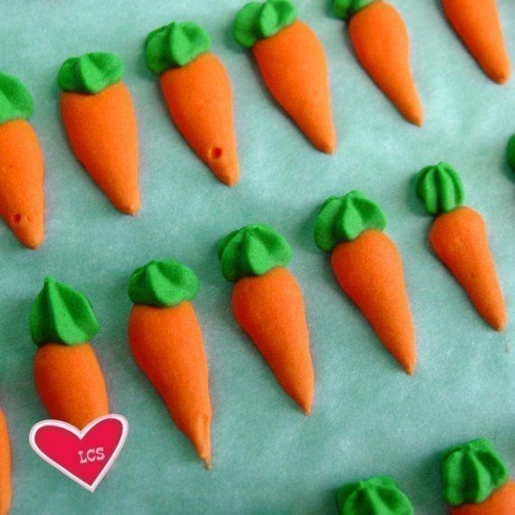 Cake Decorating Carrot Shaped : 24 Orange Royal Icing Carrots - Cake Decorations or ...