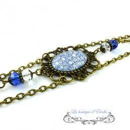 Headband chaines bronze liberty bleu blanc