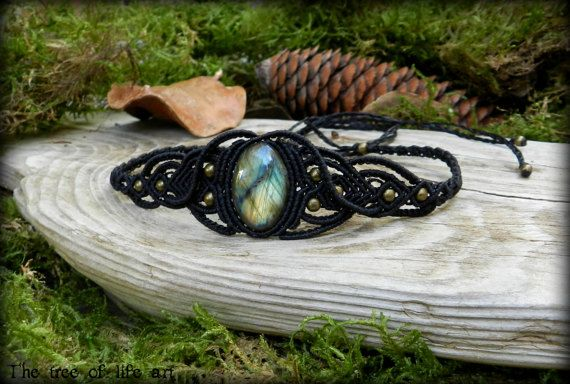 Macrame tiara or choker with Labradorite stone & bronze metal beads/Tribal macrame/Micromacrame/Festival jewelry/ooak/Thetreeoflifeart
