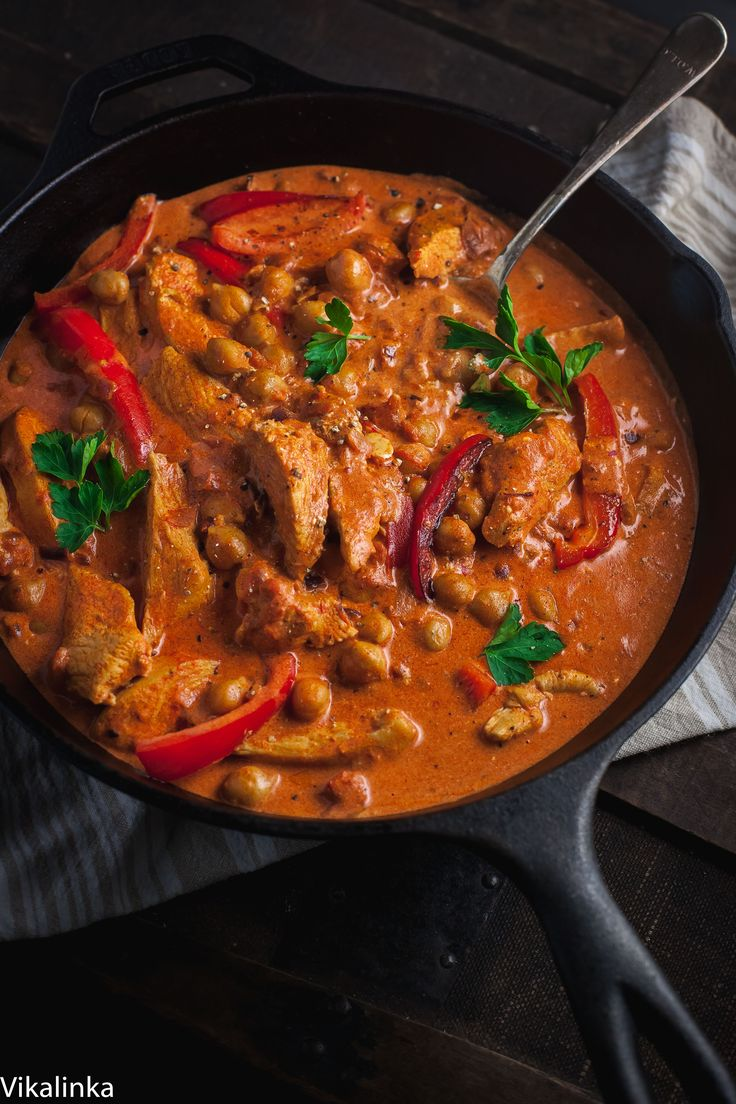 This simplified version of  chicken paprikash is made leaner by using chicken breasts and chickpeas so you can enjoy the creamy goodness without the guilt!
