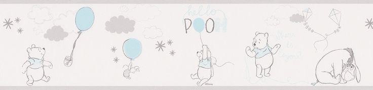 Cenefa Winnie the Pooh y amigos WP3511-2 con distintos dibujos de Winnie, Tiger, Piglet en  blanco y gris con detalles en azul cielo.