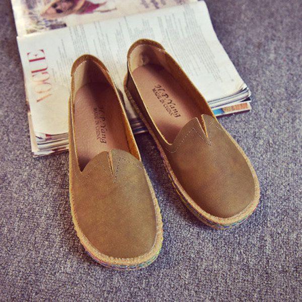 Pure Color ronde neus V-hals Svant Comfy platte schoenen voor vrouwen - US$24.99