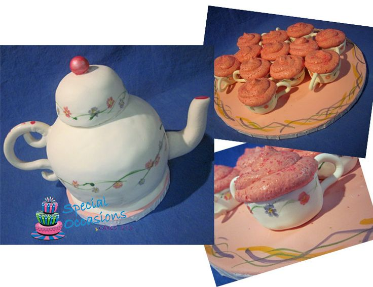 Tea Pot and Tea Cups - I would like to add that I did this mostly one handed ... I broke and dislocated my collarbone a week before, so this was a challenge, and not my best work by any means.  I substituted strawberry mousse for icing on the cuppies :)