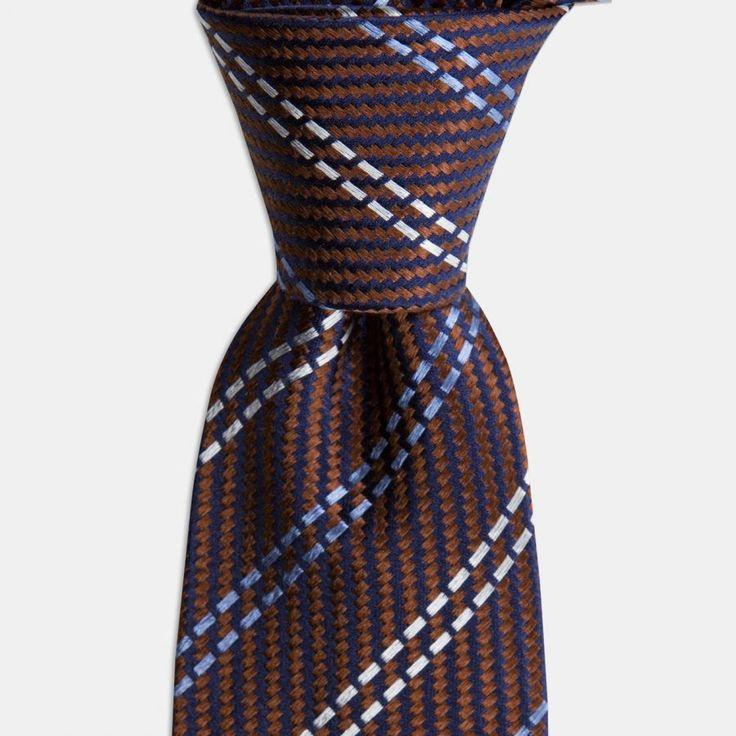 Kahverengi Mavi Beyaz Çizgili İpek Kravat
