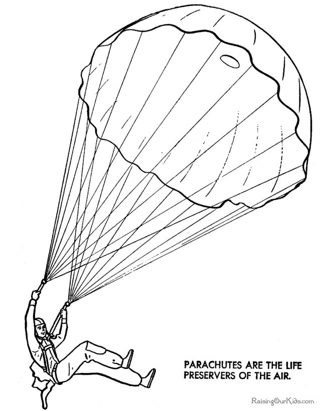 parachute coloring page free and printable
