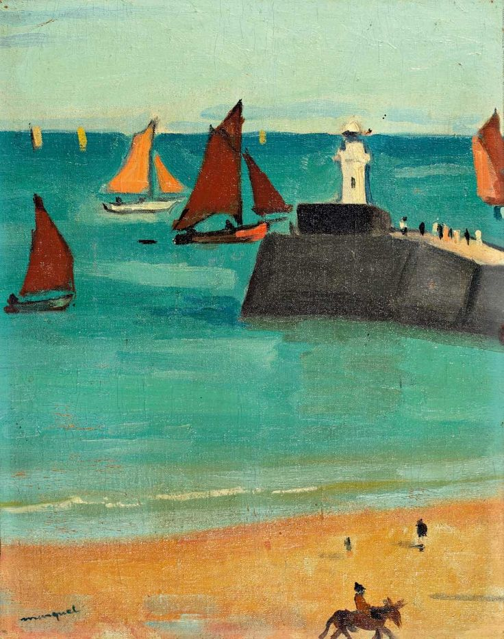 """Les sables d'Olonne - Albert Marquet French, 1875-1947 Oil on canvas marbled on panel , 39 x 41 cm. """"Les sables d'Olonne"""" signed bottom left, and located on the back by mistake the port..."""
