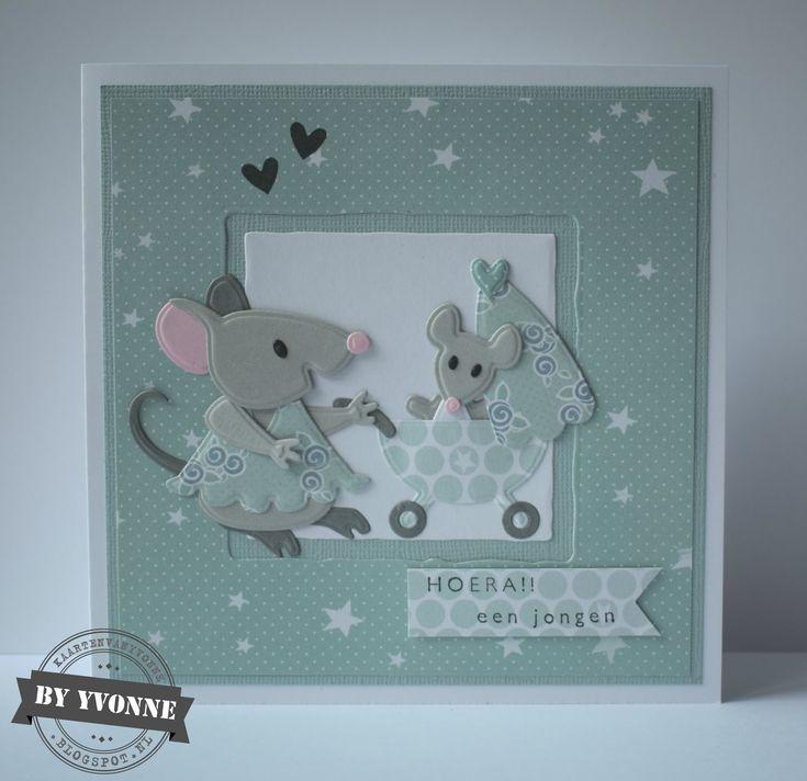 Het thema voor de nieuwe challenge van Marianne Design is: maak een babykaart/creatie in een andere kleur dan blauw of rose.   Mama mu...