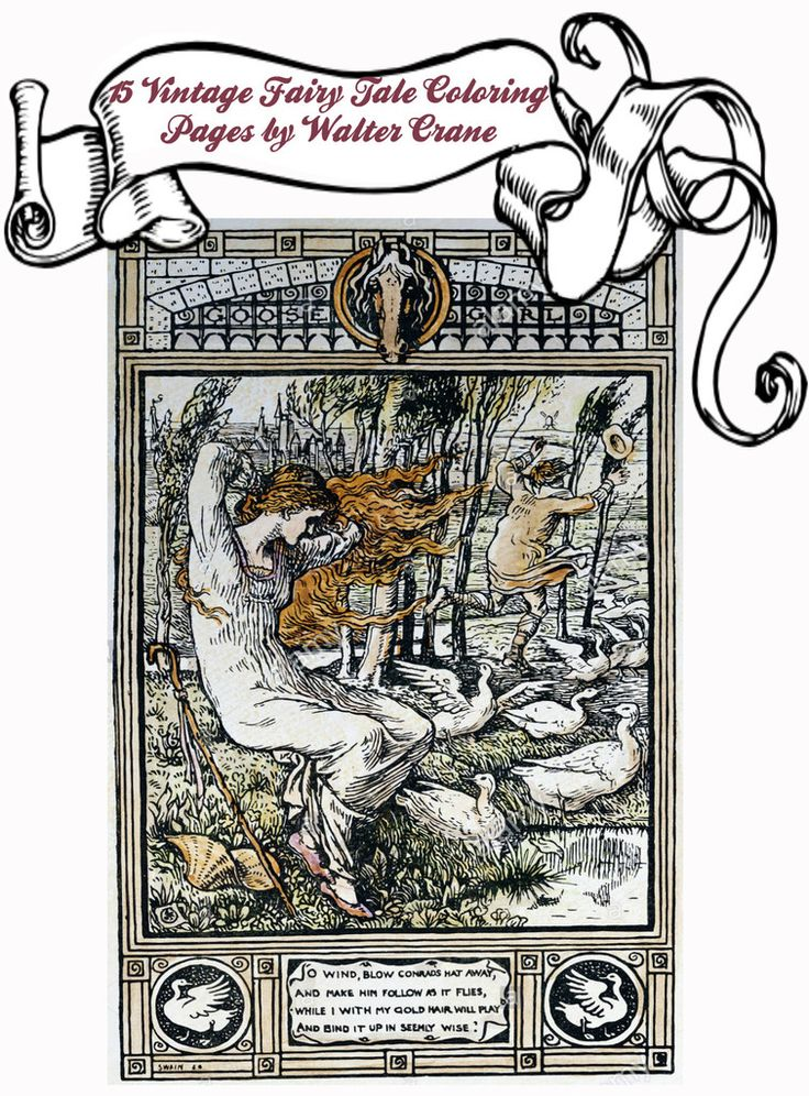 Bundle Of 15 Digital Download Fairy Tale Coloring Pages By Walter Crane To Print PDF