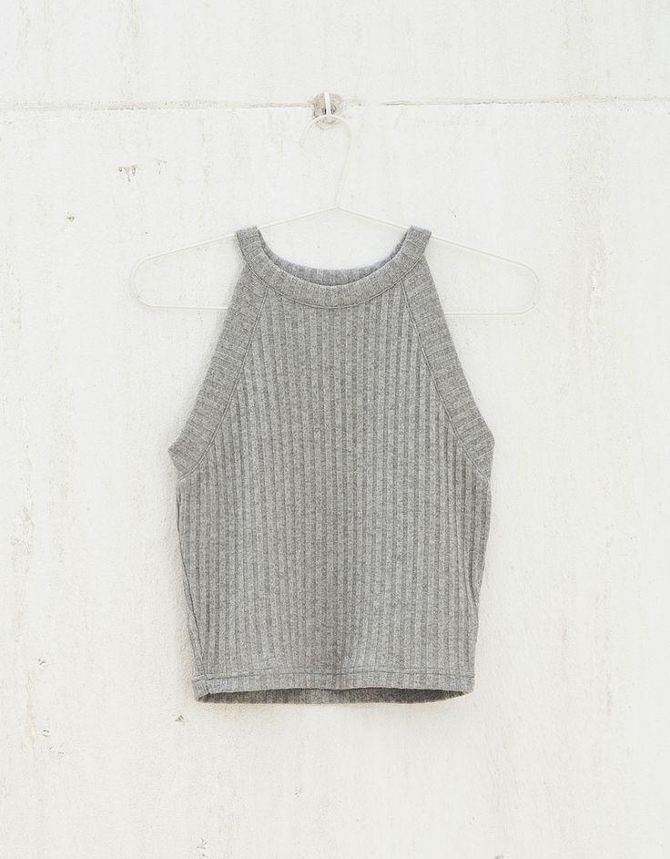BSK ribbed knit halter neck top. bers.hk/4099/929