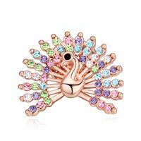 Moda del pavo real broche de cristal dorado para para niñas ropa accesorios joyería de moda blanco / Multi / rosa azul