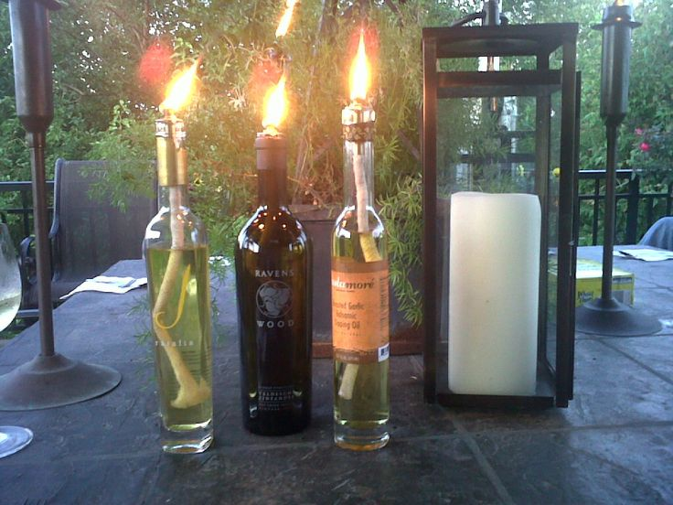 Home-made oil candles. We use citronella tiki-torch fluid to help keep Mosquitos away