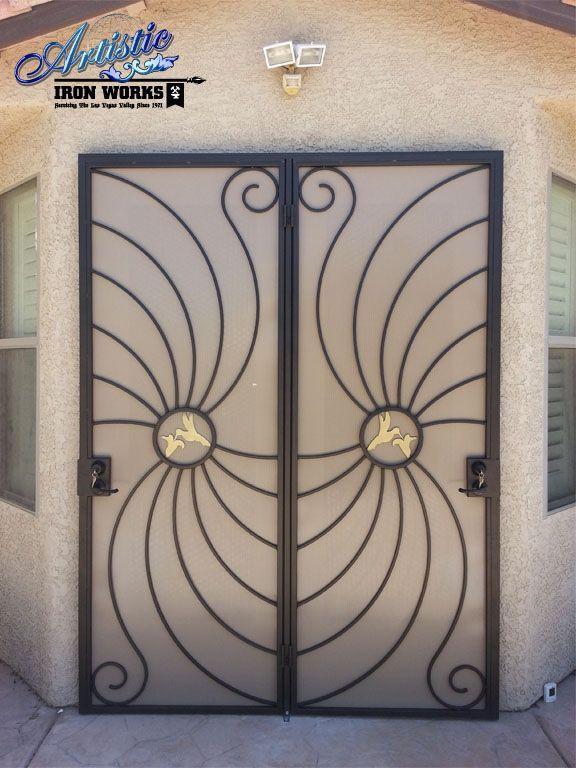 Hummingbird wrought iron security screen patio doors for Wrought iron security doors