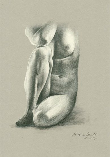 ORIGINAL DRAWING - Female nude 16 by Milena Gawlik, pencils on grey paper, artistic drawing of a sitting naked woman
