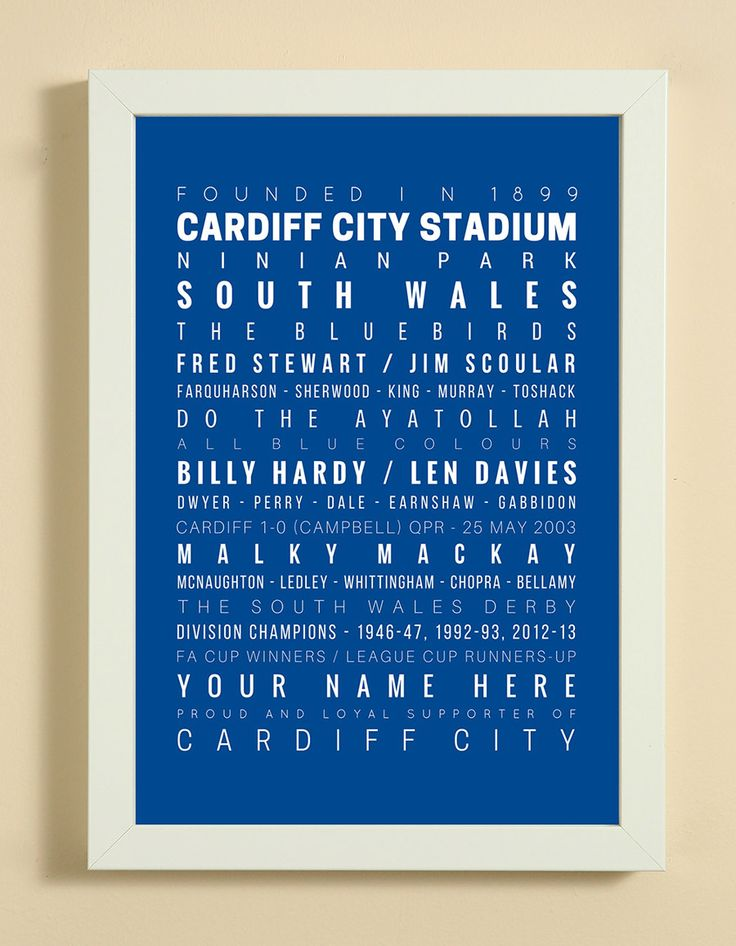 Cardiff City Football Club Word Art Design Print - Words, Names And Facts Associated With Cardiff City FC - In White Or Black A4 Box Frame