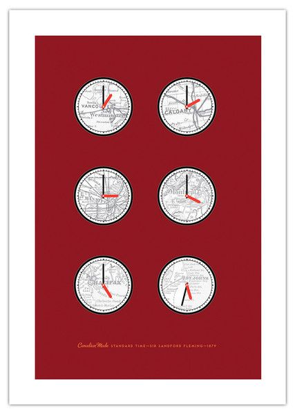 ManMade Art's 'Standard Time Zone' art poster series celebrates Sir Sandford Fleming's 1876 Canadian invention of standard time—something the world takes for granted today. Makes a great gift for men, or decoration for a condo, apartment or man-cave!