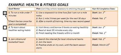 Fitness Goal Setting Worksheet - Gamersn