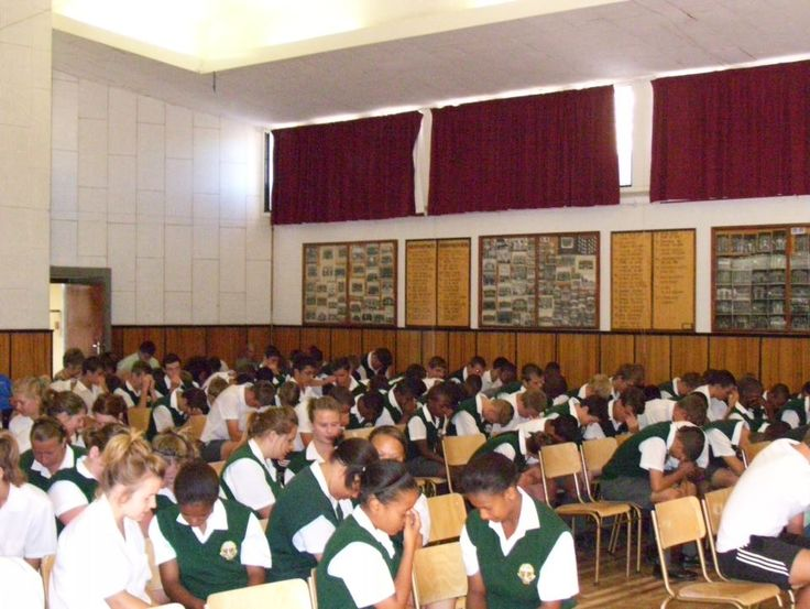 Vredenburg middle-school praying for peace in our country.