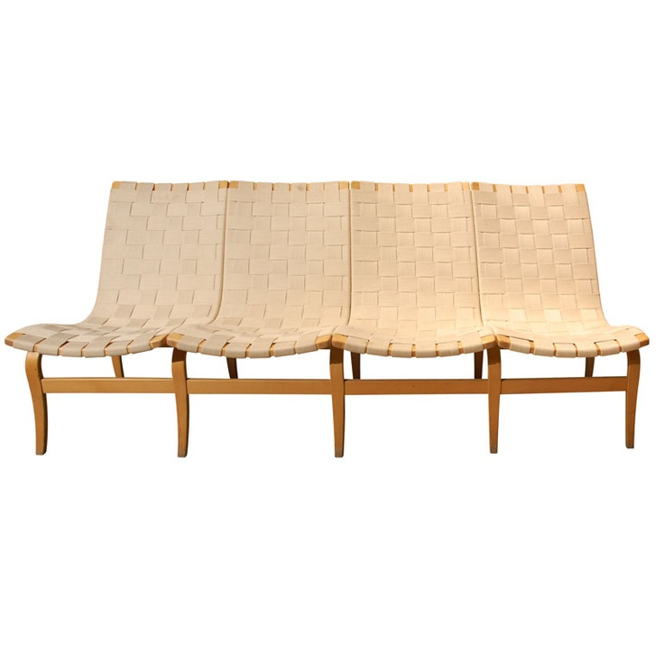 Bruno Mathsson, 4 Seater Bench, 1950s.