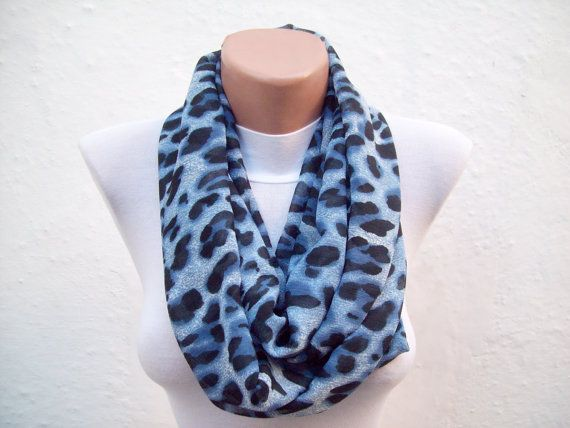 Infinity Scarf Leopard Scarves Loop Accessories by scarfnurlu