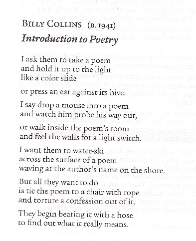 Billy Collins: intro to poetry
