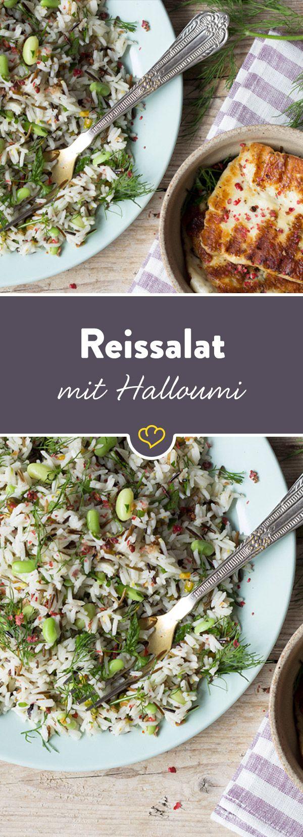 Ein Reissalat mit frischer Zitrusnote, der sich als Beilage vielfältig einsetzen lässt. Für die nötige Würze sorgen Pistazien und gegrillter Halloumi.