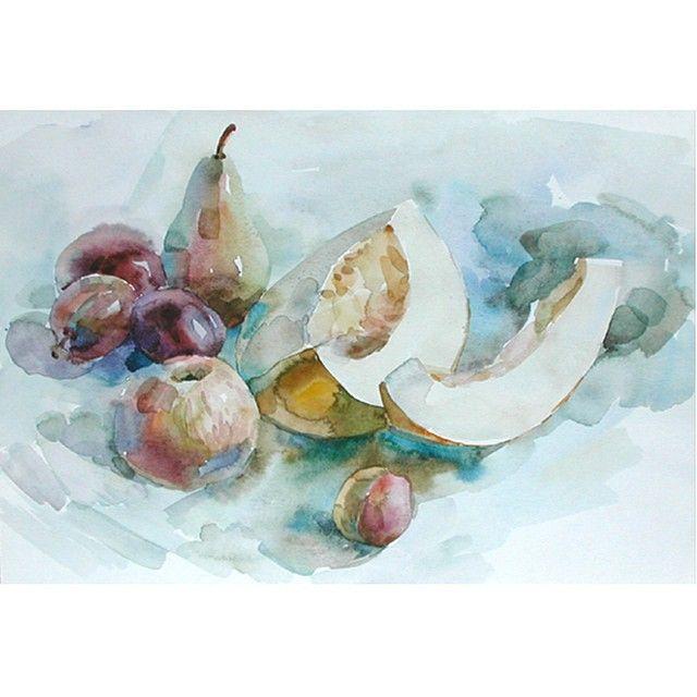 Зато осень-время натюрмортов)#фруктытоженатура#натюрморт#живопись#этюд#акварель #watercolor#aquarelle#stillife#a#painting#art#yulia_kirilina