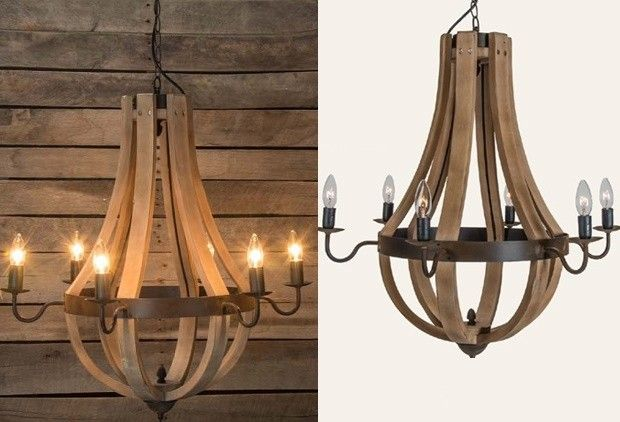 "Wine Barrel Chandelier $342 (no returns). 27""H & W"