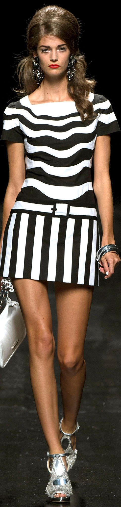 Moschino Ready to Wear Spring striped dress women fashion outfit clothing style apparel @roressclothes closet ideas