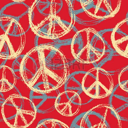 Seamless pattern from Peace sign. Hippie symbol of peace photo