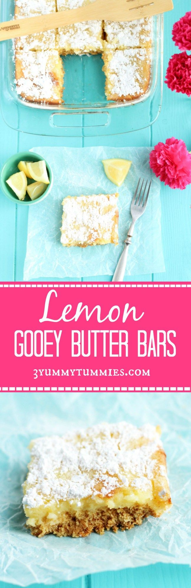 These Lemon Gooey Butter Bars are the ultimate ooey gooey goodness with an easy cake mix crust!