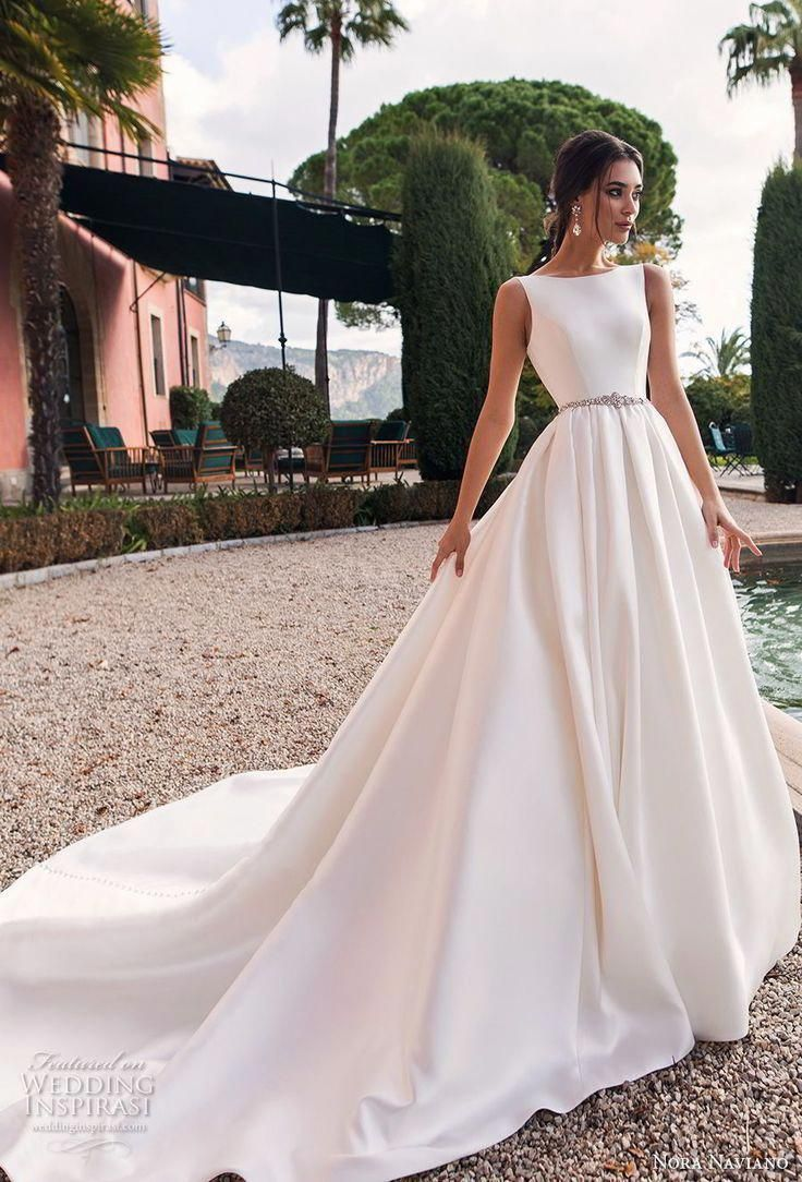 Nora Naviano 2019 Bridal Sleeveless Bateau Neckline Simple Clean Minimalist Elegant A Line Wedding Dress Open Wedding Dresses Wedding Dress Styles Bridal Gowns [ 1084 x 736 Pixel ]