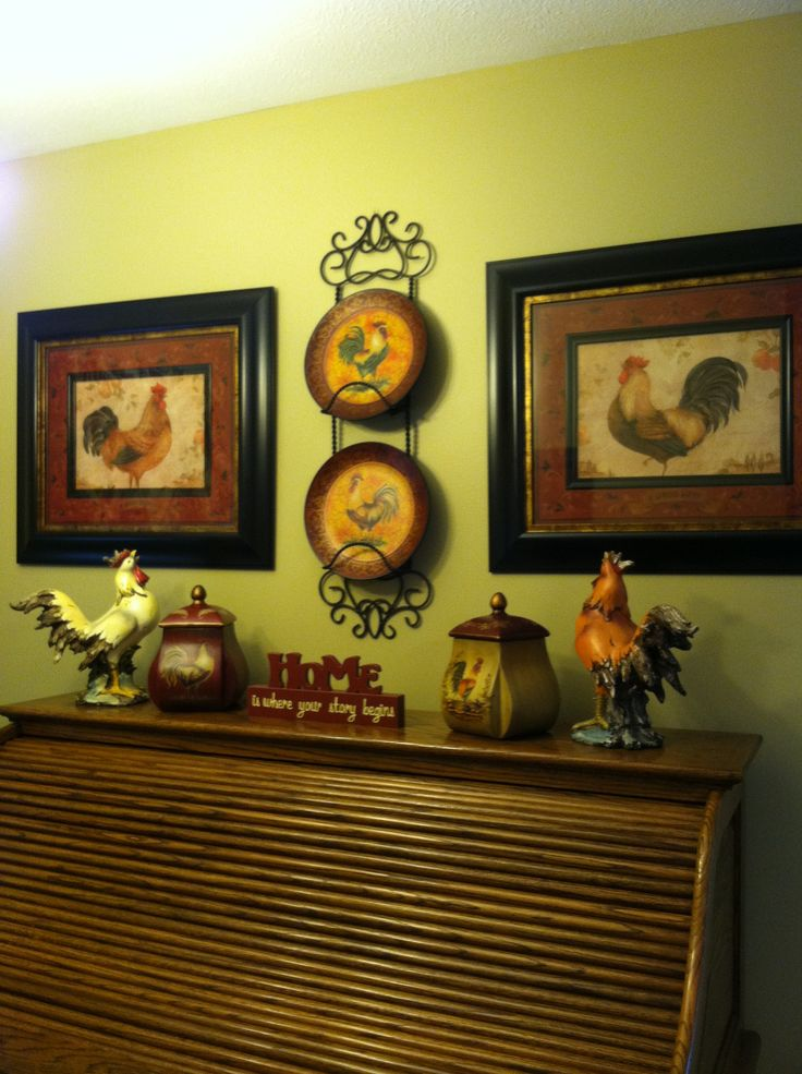 56 best country french kitchen with roosters images on - Kitchen rooster decor ...