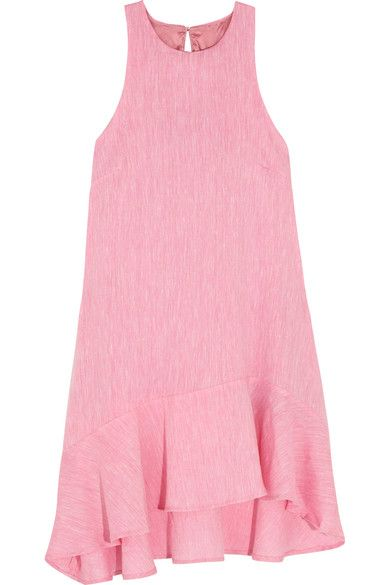 Paper London - Treacle Ruffled Asymmetric Linen Mini Dress - Baby pink - UK10