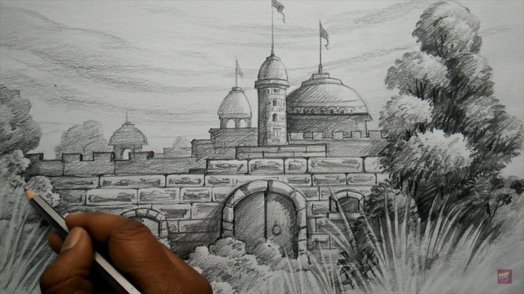 How To Draw Fort With Pencil Pencil Shading Art In