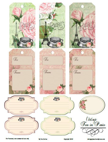 Free Printable-Vintage Tea in Paris Tags