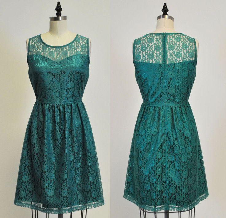 PROVENCE (Jade) : Jade green lace dress, sweetheart neckline,  vintage, shirred skirt, chiffon sash, party, day, bridesmaid by MfandjDesigns on Etsy https://www.etsy.com/listing/158262365/provence-jade-jade-green-lace-dress