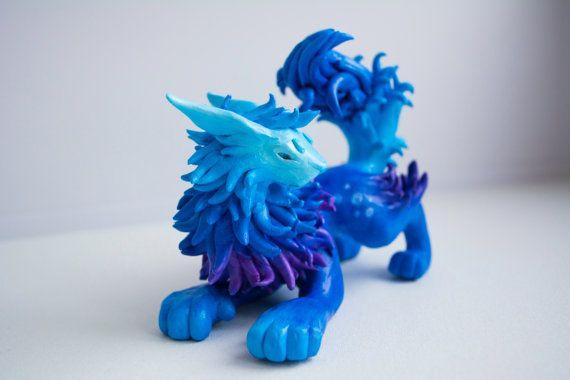 NightSky Lion Sculpture Polymer Clay Fantasy by WingedHedgehogDream