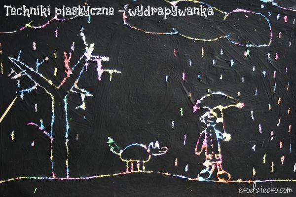 Jesienna pogoda - wydrapywanka - ciekawe techniki plastyczne dla dzieci. Autumn weather - interesting art techniques for children.