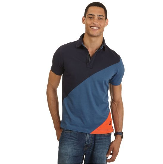 Slim Fit Diagonal Deck Polo Shirt - Nautica